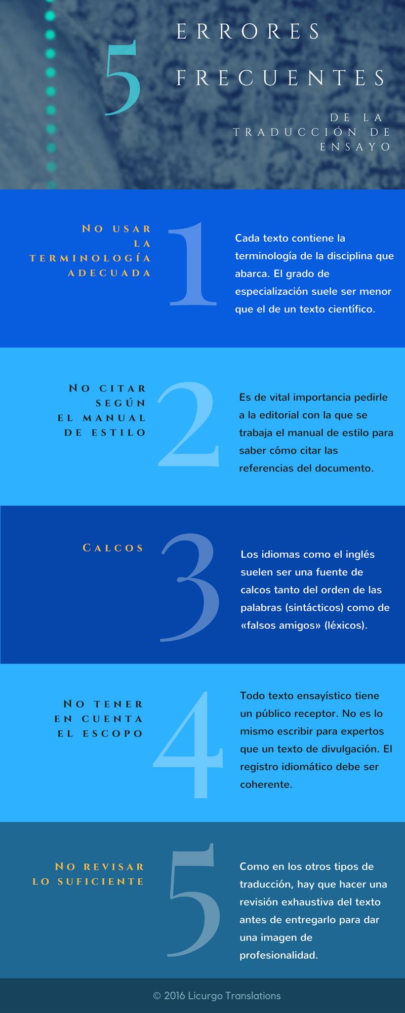 5 errores frecuentes de la traducción de ensayo