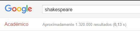Búsqueda Shakespeare Google Scholar